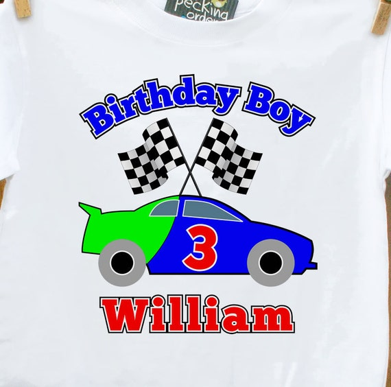 Race car birthday boy shirt - perfect for any age racing themed personalized Tshirt