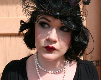 Gigi - 1920s Flapper beaded headband - Available in Black, Cream and Natural Peacock