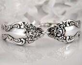 Spoon Bracelet, FREE Engraving, Silver Spoon Bracelet, Spoon Jewelry, Silverware Bracelet - 1967 BAROQUE ROSE