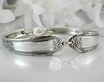 Spoon Bracelet, FREE ENGRAVING, Spoon Jewelry, Silverware Bracelet, Bridesmaid Bracelet, Victorian Wedding - 1937 COTILLION