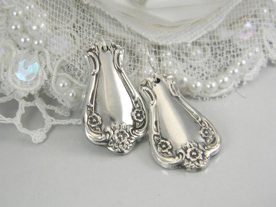 Spoon Jewelry, SPOON EARRINGS, Silverware Jewelry, Silverware Earrings, Dangle Earrings, Silver Spoon Earrings  - 1952 Elegant Lady