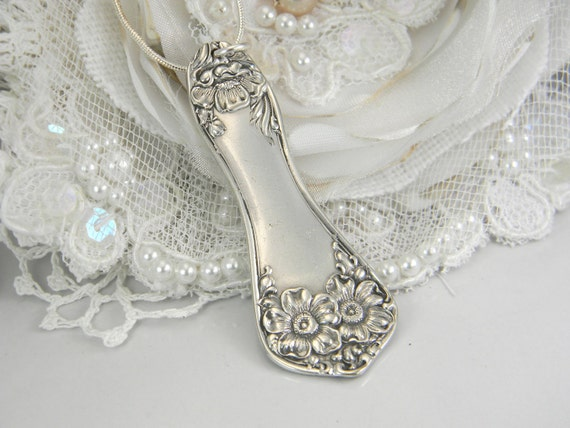 Spoon Jewelry, Silverware Jewelry, Spoon NECKLACE PENDANT, Antique Necklace, Silver Pendant, Vintage Wedding, Bridesmaids Gift - 1906 FLOWER