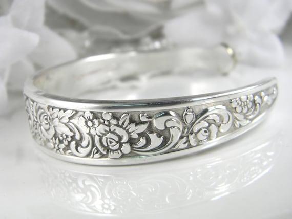 Spoon Bracelet CUFF, Spoon Jewelry, Silverware Jewelry, Silverware Bracelet, Vintage Wedding, Silver Cuff - 1969 TANGIER (Small-Medium)