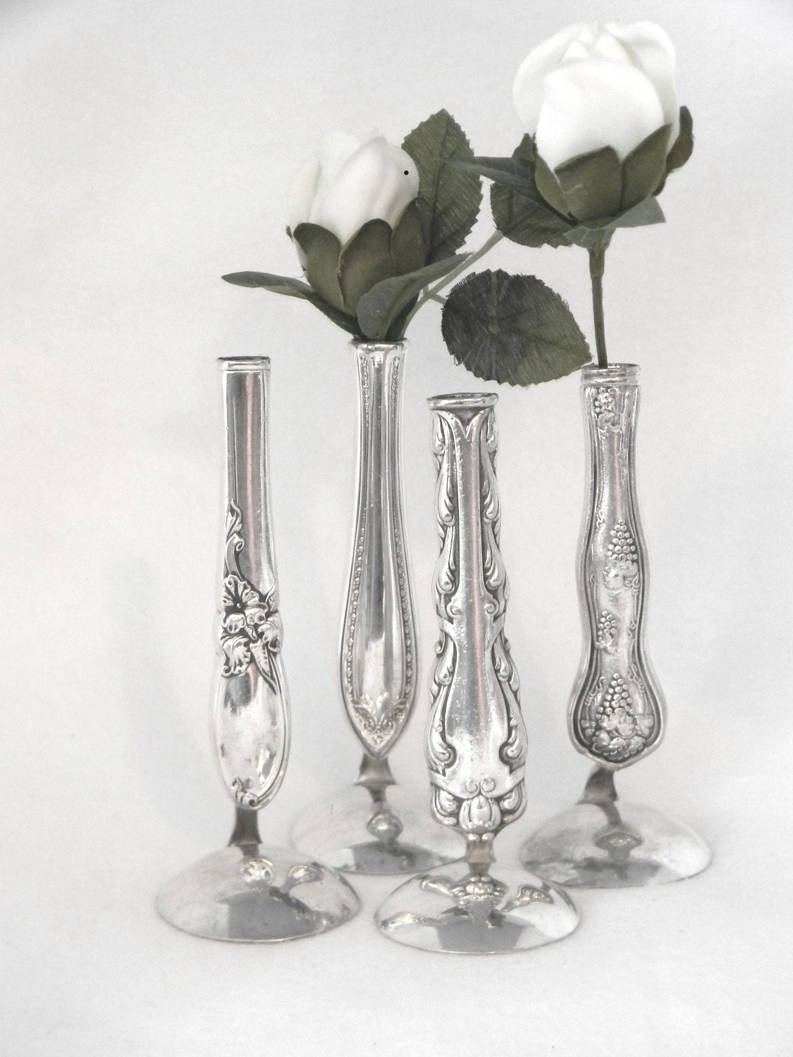 special order for erica 12 vintage silver vases bud vases. Black Bedroom Furniture Sets. Home Design Ideas