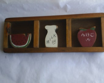 Wooden Frame with hand painted Watermelon Milk Bottle Apple Wood Frame