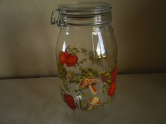 Reserved for Joyce Vintage Glass Canister Jar with Vegetable Decals
