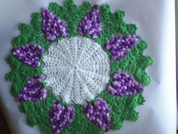 Crochet Grape Cluster Doily HandMade Vintage