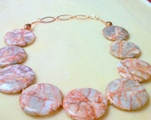 Red Line Marble Coin Necklace