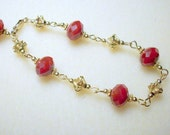 Crimson and Gold Rosary Style Bracelet