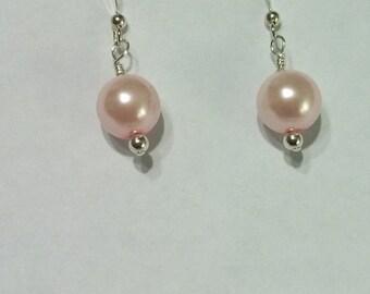 Pink Pearl Earrings, Drop, Bridesmaid Earrings, Sterling Silver, Handmade Wedding Jewelry