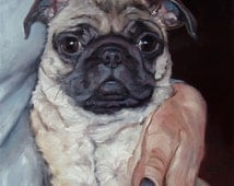 Pug Hugs, custom Pet Portrait Oil Painting by puci, 12x12""