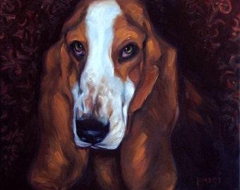 Bassett Bill, on the job: Custom Pet Portraits in Oils by puci, custom pet portraits and people portraits