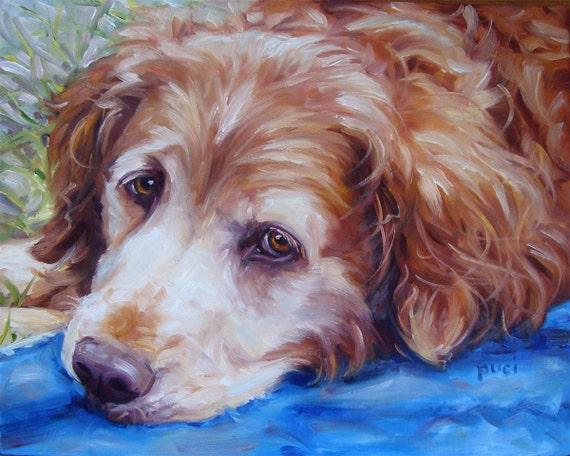 "Guitar CHARLIE, custom Pet Portrait Oil Paintings by puci, 8x10"""