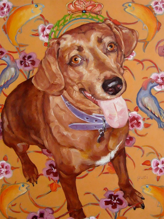 """Not Just a Hound Dog, custom Pet Portrait Oil Painting by puci, 12x16"""""""
