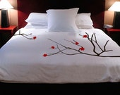 ShaNickers Cherry Blossoms Handpainted Duvet Cover and Shams- Queen Size