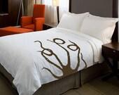 CUSTOMIZABLE ShaNickers Octopus Handpainted Duvet w/ Shams-Queen Size