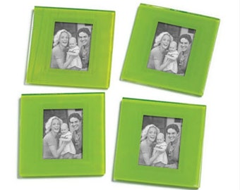 Glass Coaster Picture Frame Set of 4- Bright Green