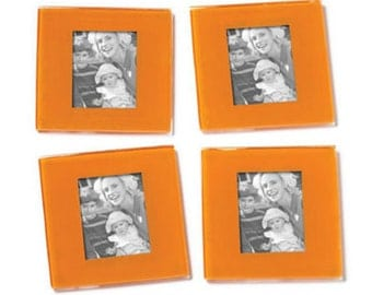 Glass Coaster Picture Frame Set of 4- Orange