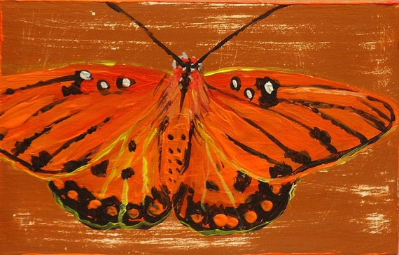 Gulf Fritillary Butterfly original butterfly painting on reclaimed wood