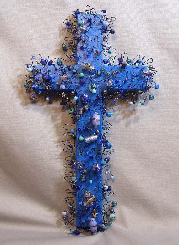 wall cross, Blue Bead Cross with Blue Wire, art cross