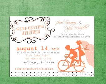 Vintage Bicycle Sillouhette Wedding Invitations