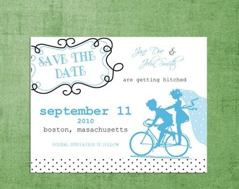 SAVE THE DATE Wedding Announcements-Vintage Bicycle Sillouhette - Stationery by razzledazzledesign on Etsy