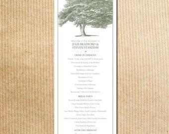 Elegant Green Tree Wedding Program -- Stationery by razzledazzledesign on Etsy