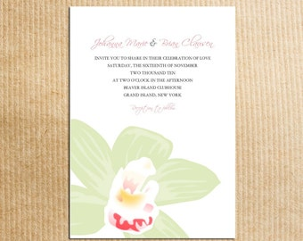 Beautiful TROPICAL FLOWER green orchid Wedding Invitation - Stationery by razzledazzledesign on Etsy