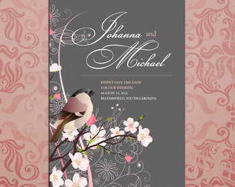 Save the Date Bird on Cherry Blossom Tree Wedding cards - Stationery by razzledazzledesign on Etsy