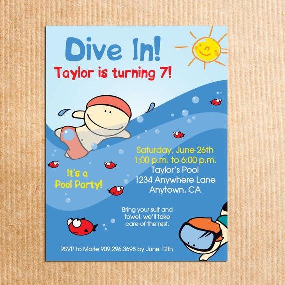 einladung kindergeburtstag schwimmen – kathyprice, Einladungsentwurf