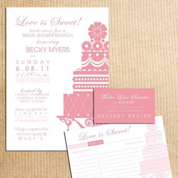 LOVE IS SWEET Sillouhette Cake Bridal Shower Invitations with Recipe cards