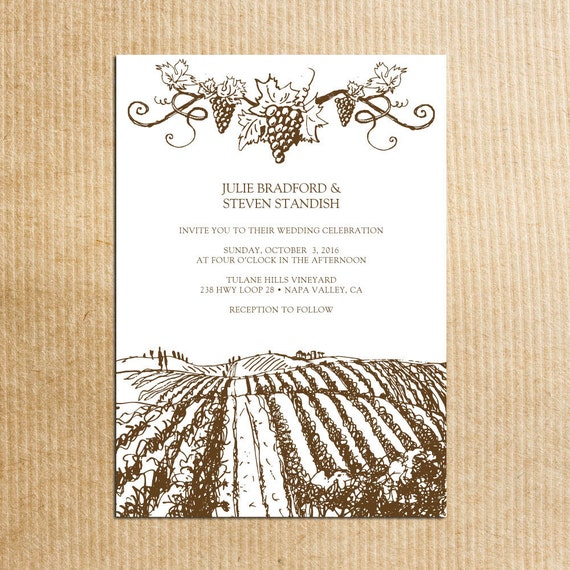brown Rustic Vineyard Wedding invitations -Vintage Grapevine - Stationery by razzledazzledesign on Etsy