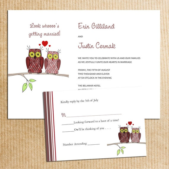 Items Similar To Brown WHIMSICAL OWLS Wedding Invitation