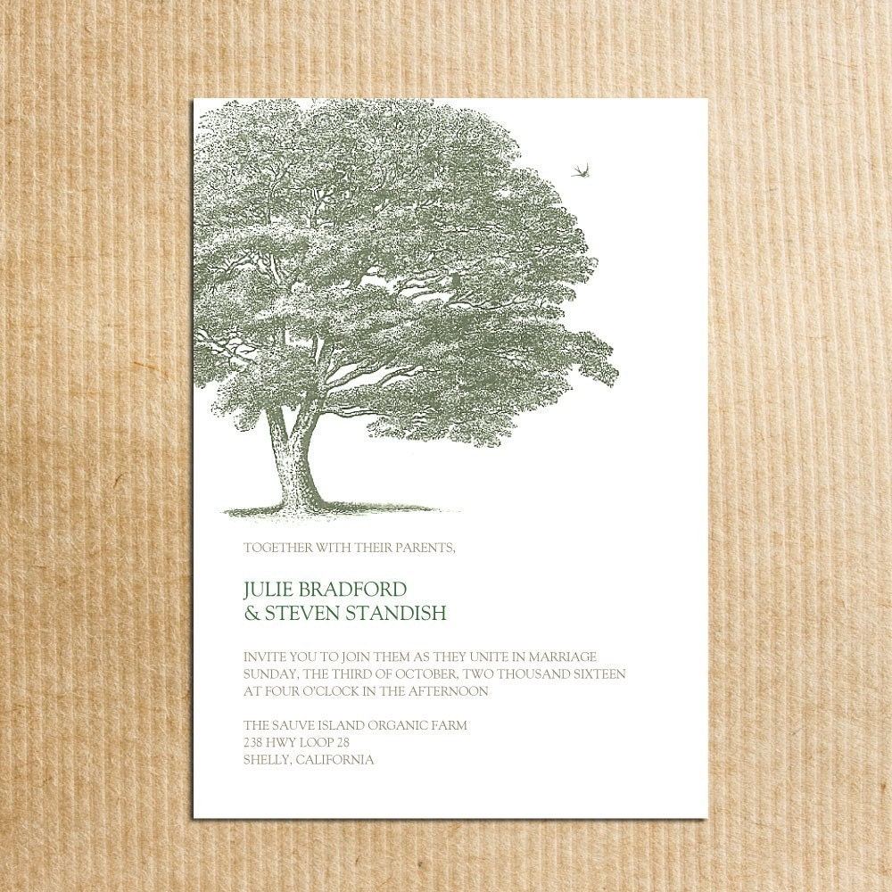 Tree Wedding Invitations: Elegant Green Tree Wedding Invitations Stationery By