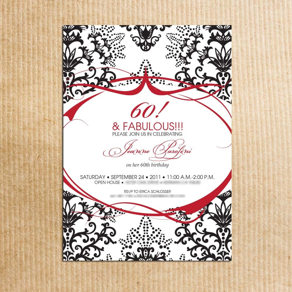 Damask 60th Birthday party Invitation red and balck
