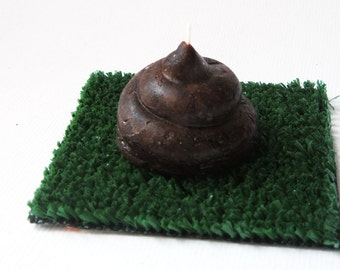 Cute POO Candle with Portable Turf - chocolate scented