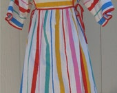 Very Cute Vintage White Multi Stripe Cotton Summer Dress with Red Side Ties by Annie
