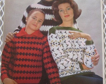 Vintage Knitting Patterns, 19 Vintage 1960s Super Worsted Wool Knitted Sweater Patterns, Designed by Mirsa of Italy