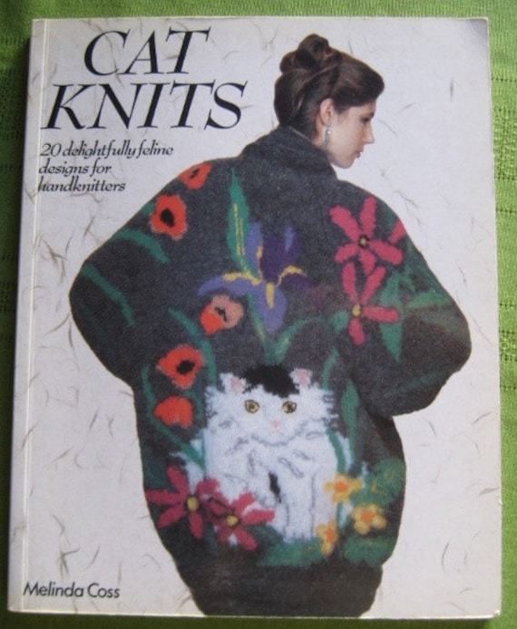 1980s Knitted Cat Sweater Patterns in Cat Knits by Melinda Coss