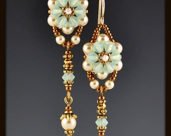 Chrysolite Opal Crystal Flower Beadwoven, Beaded, Beadwork Earrings