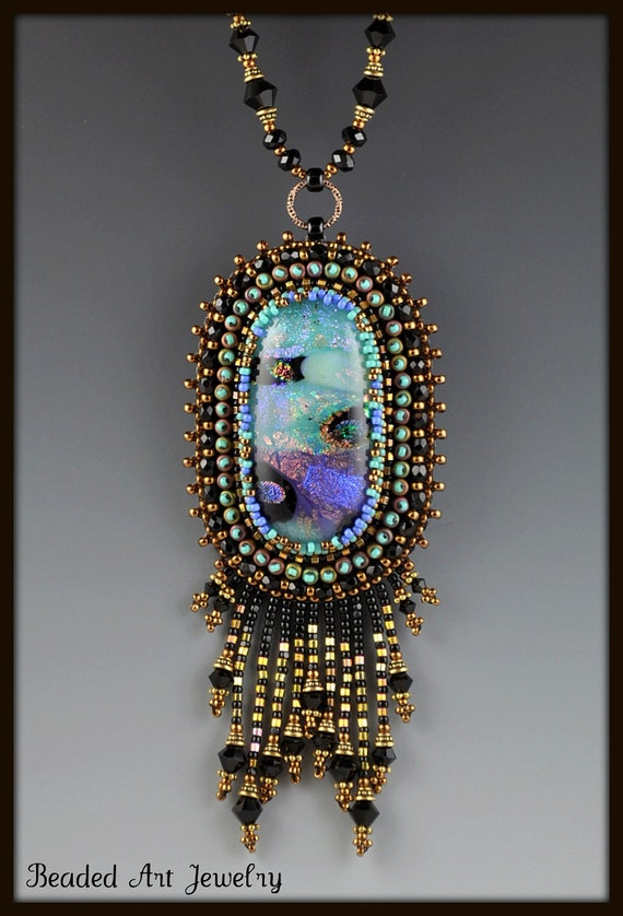 Bead Embroidered, Beaded, Beadwork, Dichroic Glass Necklace