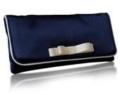 Navy satin Darcy clutch purse