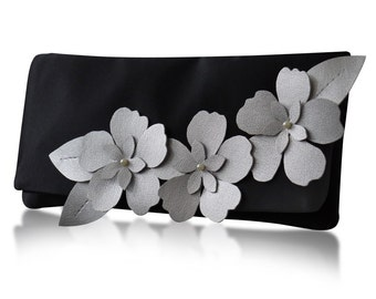 Black and silver satin Astor applique flower clutch purse, bridesmaids, mother of the bride