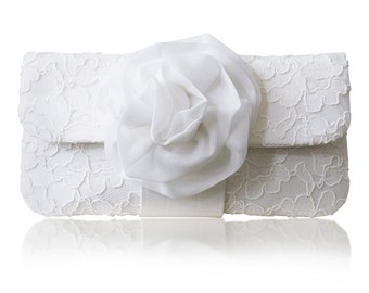 Ivory lace bridal wedding clutch purse EVA