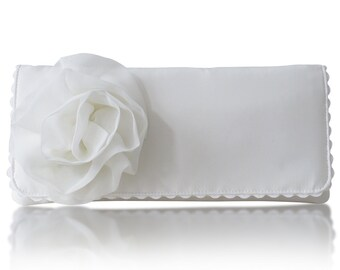 Ivory satin Georgia bridal clutch