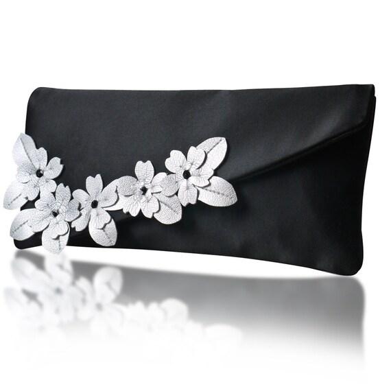 Black and silver satin Ida clutch