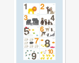 Counting Animals, 123 Print