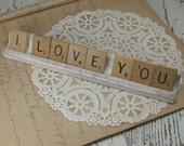 I LOVE YOU Scrabble Tile Sign