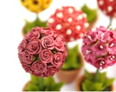 Miniature Polymer Clay Flowers Supplies Miniature Roses Topiary