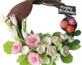 Miniature Polymer Clay Flowers Wreath Supplies for Dollhouse